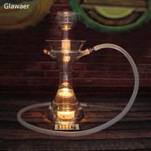 Shisha Glawaer Brand 82003 Borosilicate Glass Water pipes Glass Hookahs / With LED Light complete set smoking narguile