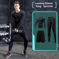 2017 Survetement Men Sports Suit 3pcs Quick Dry Running Set Sports Compression Underwear Basketball Soccer Fitness