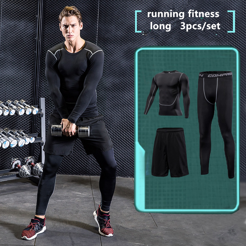 2017 Survetement Men Sports Suit 3pcs Quick dry Running Set Sports Compression Underwear Basketball Soccer Fitness Training suit
