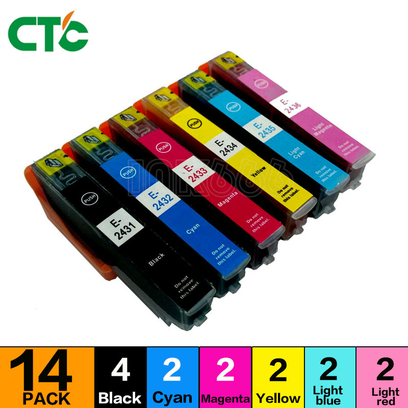 14X Compatible Ink Cartridge T2431 to T2426 24XL For Expression Photo XP-55 XP760 XP850 XP860 XP-950 XP-750 inkjet printer