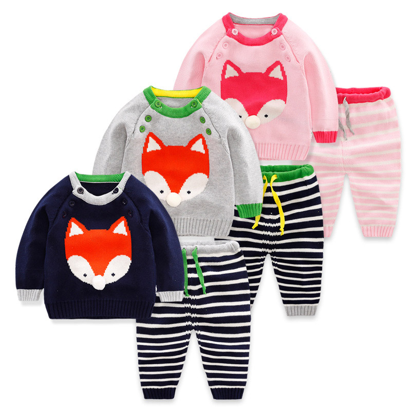Winter Spring Baby Clothes Sets Newborn Boys Girls Warm Knitted Sweater Suit Infant Cartoon Fox Cat Patten For 0-24M Baby CL2076 2017 new brand newborn toddler infant baby boys girls fashion striped hoodies autumn warm clothes 2pcs sweater suit