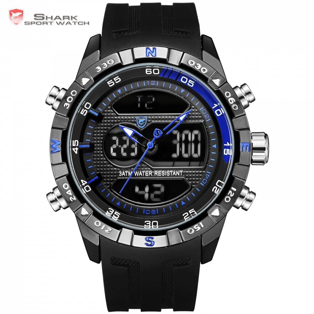 Fashion Hooktooth SHARK Brand Business Men Clock LCD Auto Date Alarm Stopwatch Chronograph Black Runing Quartz Sport Watch/SH600