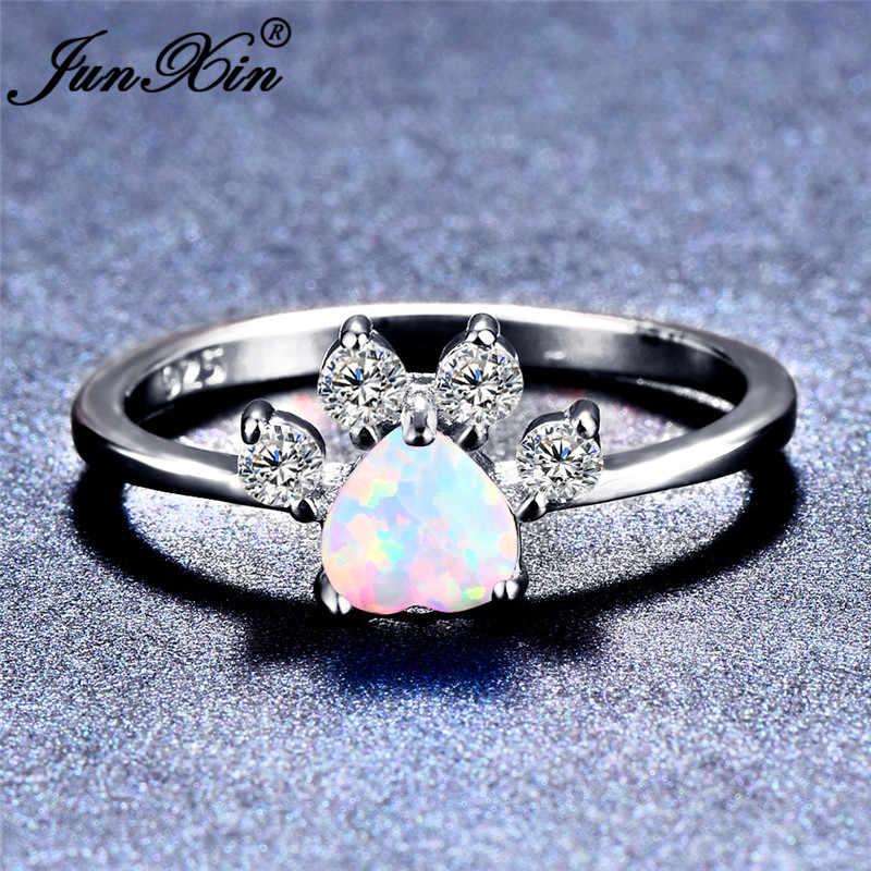 JUNXIN สัตว์หมีแมวสุนัข Paw Rainbow Fire Opal แหวนเงินแท้ 925 หัวใจกรงเล็บ Birthstone แหวน