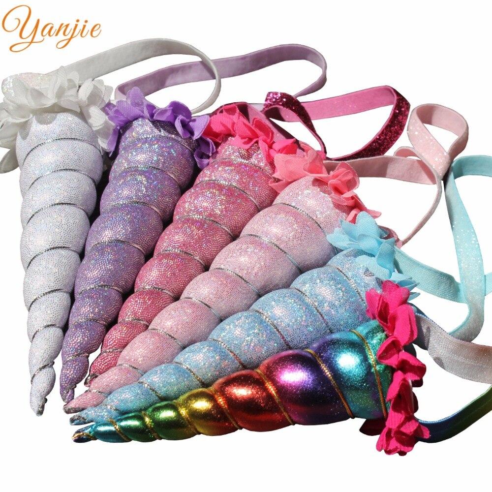 Nova chegada arco-íris bandana 2020 metálico cosplay festival menina cavalo chifre festa de aniversário acessórios para o cabelo crianças headwear