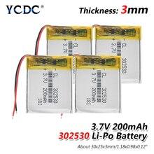 1/2/4 Pcs/lot 302530 Rechargeable Li-polymer Lipo Battery 3.
