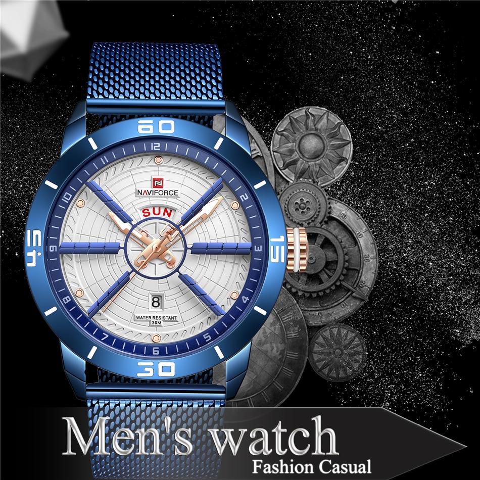 NAVIFORCE Mens Watches Top Brand Luxury Quartz Watch Men Full Steel Men Watch Sport Fashion Business Watches Relogio Masculino 9