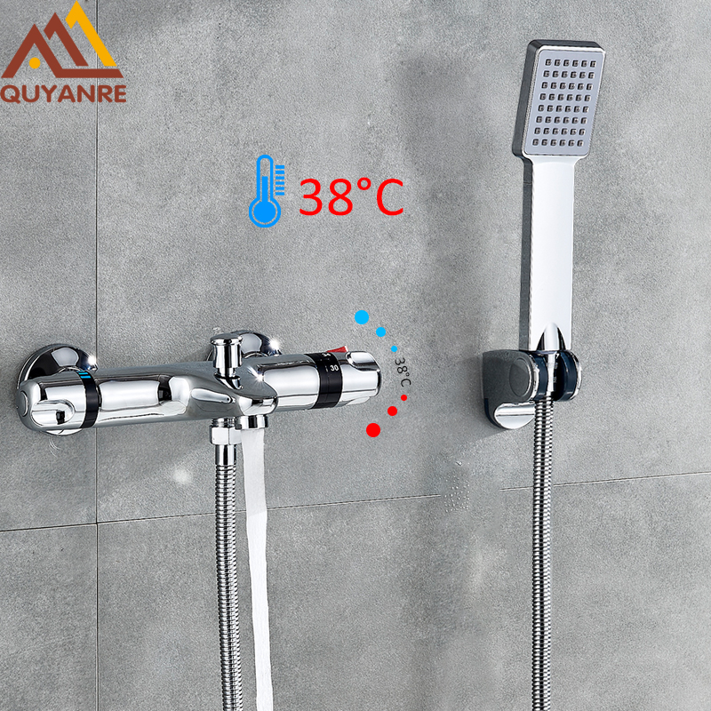 Quyanre Chrome Thermostatic Shower Faucets Wall Mounted Bathtub Dual Handles Thermostatic Shower Mixer Tap Bath Shower