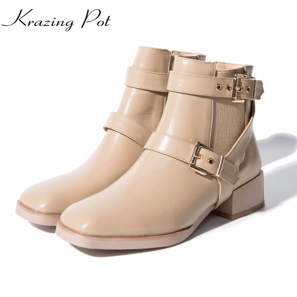Krazing Pot full grain leather high quality winter boots square toe gladitor med heel women metal buckle ankle Chelsea boots L68 pointed toe cuban heel buckle full grain women real leather boots faux fur chelsea ankle slip on martin british euro style