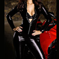 Sexy Cat Woman High Collar Bodysuits Bondage Faux Leather Jumpsuit Charming Latex Catsuit With Front Zipper PVC Leather Clubwear
