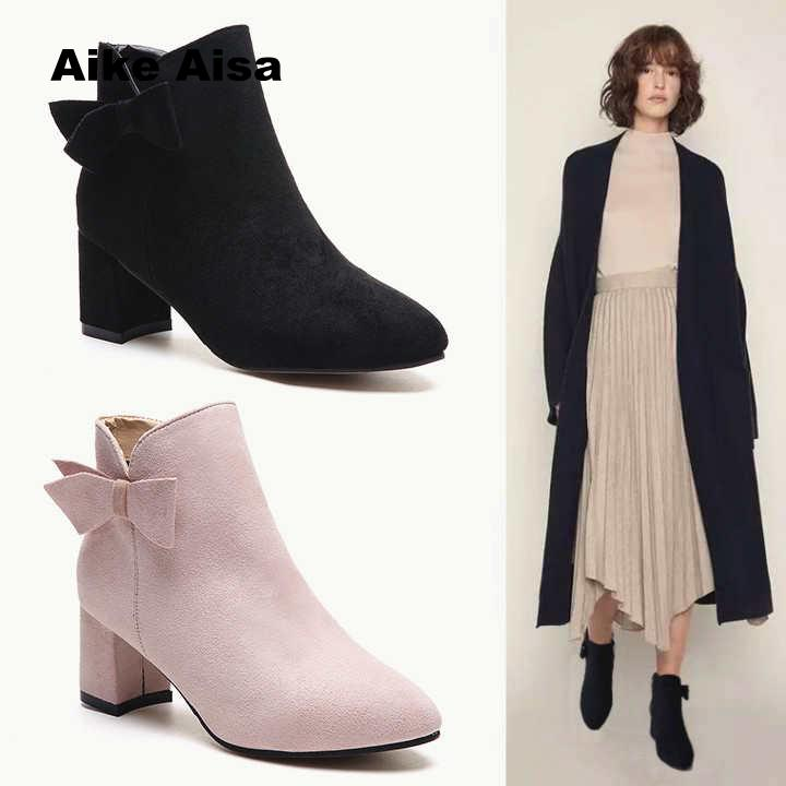 2018 Women Boots Round Head Suede Ankle Thick Heel High Heels Shoes Female  Socks Autumn Winter Martin Boots Zapatillas Mujer-in Ankle Boots from Shoes  on ... 271d8fe7dffe