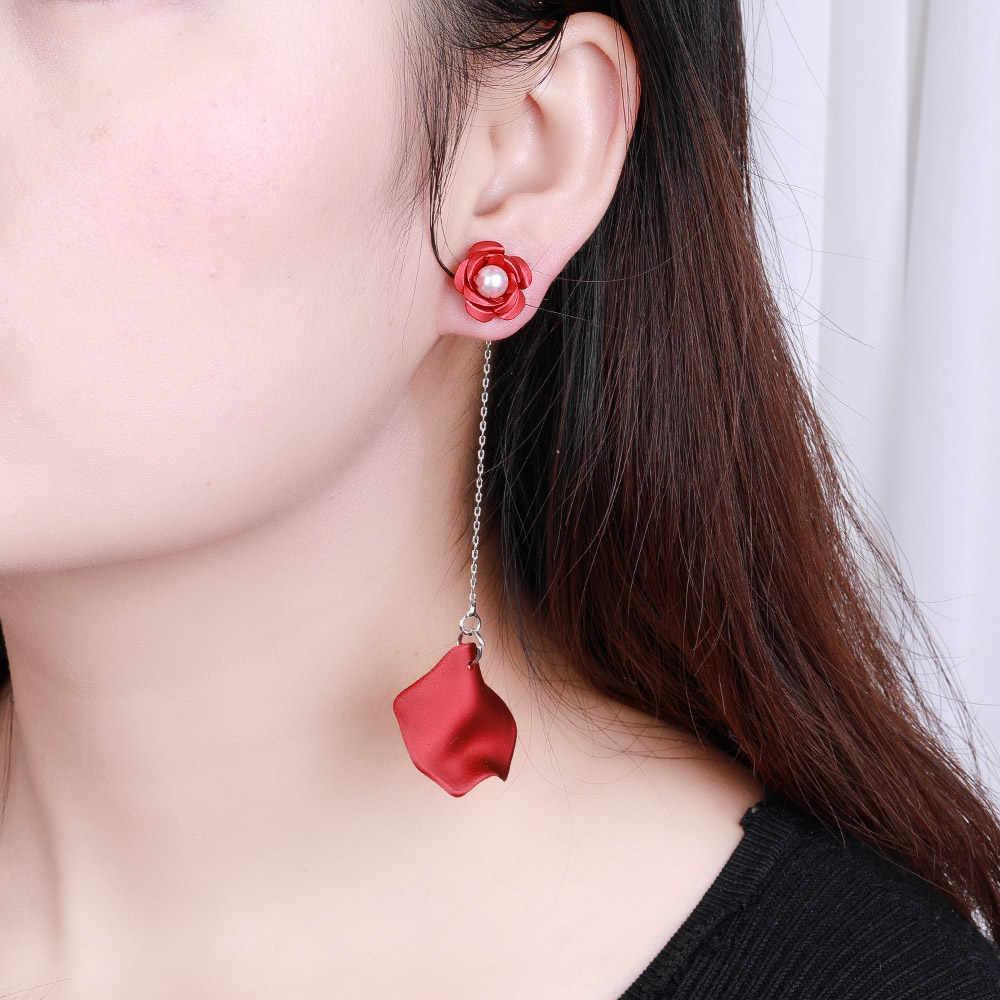 HanCheng yeni moda charm asılı petal uzun küpe süslemeleri inci çiçek damla küpe kadınlar takı için brincos bijoux