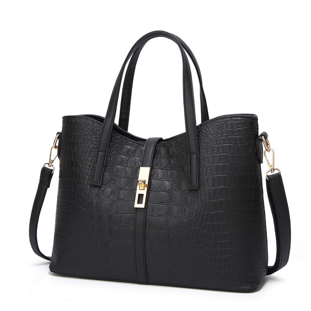 Women 39 s Trendy Alligator Print PU Leahter Tote Should Satchel Handbags 3 Pieces Set in Top Handle Bags from Luggage amp Bags