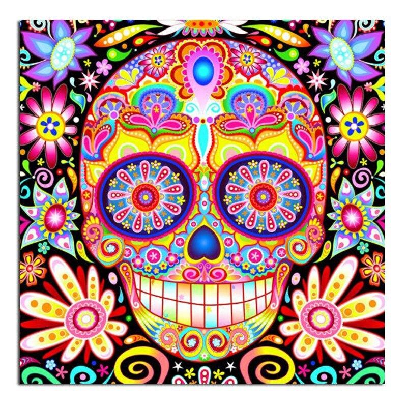 Skull flower 3D Color skull diamond painting wall sticker diamond mosaic cross stitch needlework embroidery diamond embroidery