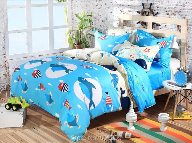 Buy blue shark fish ocean theme boys for Fish bedding twin