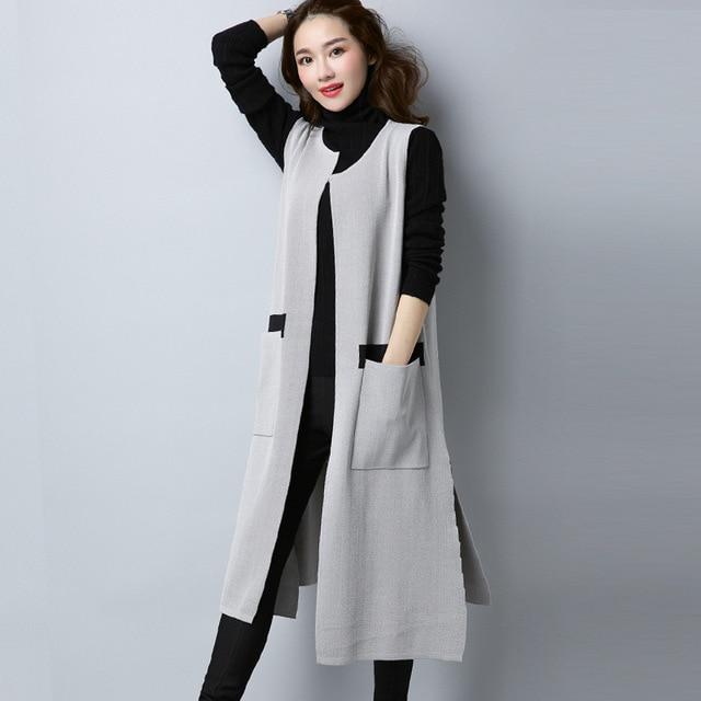 2017 Autumn New Women Long Cardigan Sleeveless Wool Knitted Vest Fashion  Knee-Length Split Hem