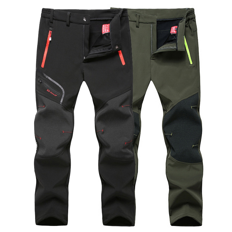 LoClimb Men's Winter Camping Hiking Pants Men Waterproof Windproof Fleece Softshell Trousers For Outdoor Trekking Ski,AM205 цена