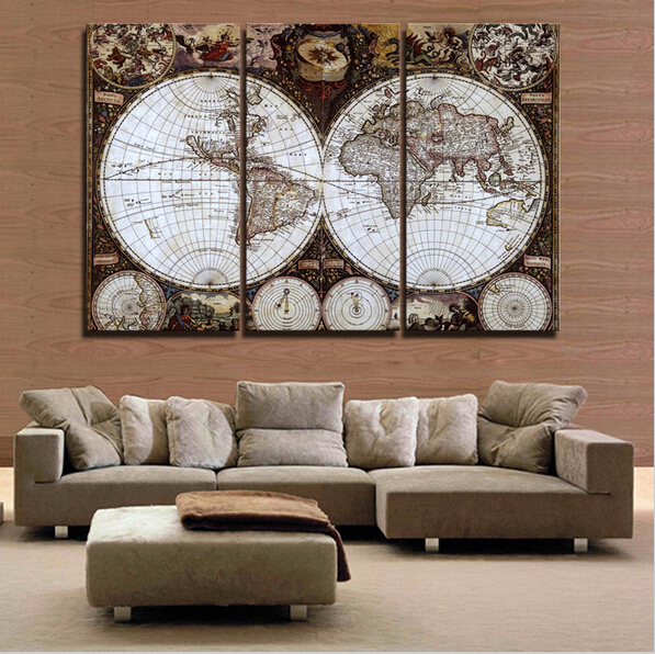 3 piece wall art ⑦Hot 3 Pieces Wall Art Map Restoring Ancient Ways Picture HD Top  3 piece wall art