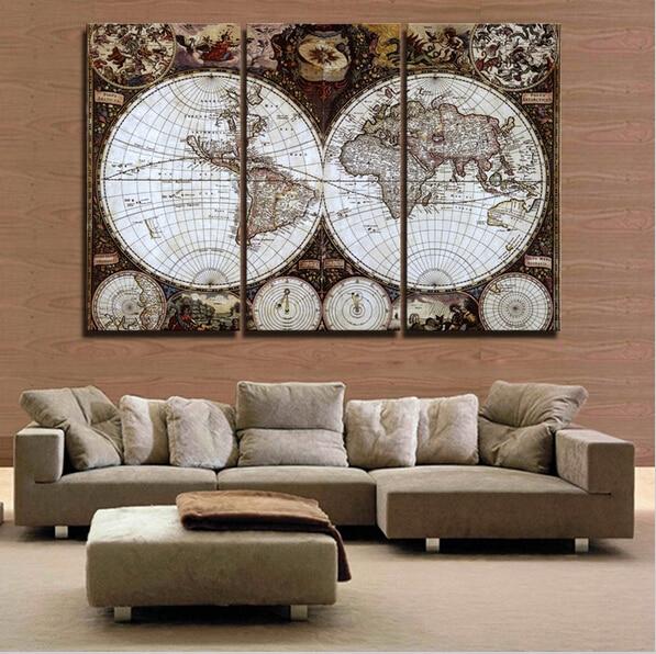 3 piece wall art ⑦Hot 3 Pieces Wall Art Map Restoring Ancient Ways Picture HD Top  3 piece wall art