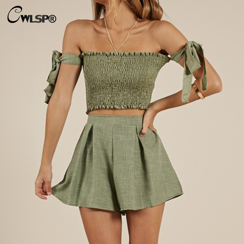 CWLSP Green Women's Sets High Elastic Crop Top And Wide Leg Shorts Sexy Beach Vacation Two Piece Set Woman Casual Clothes QL4009
