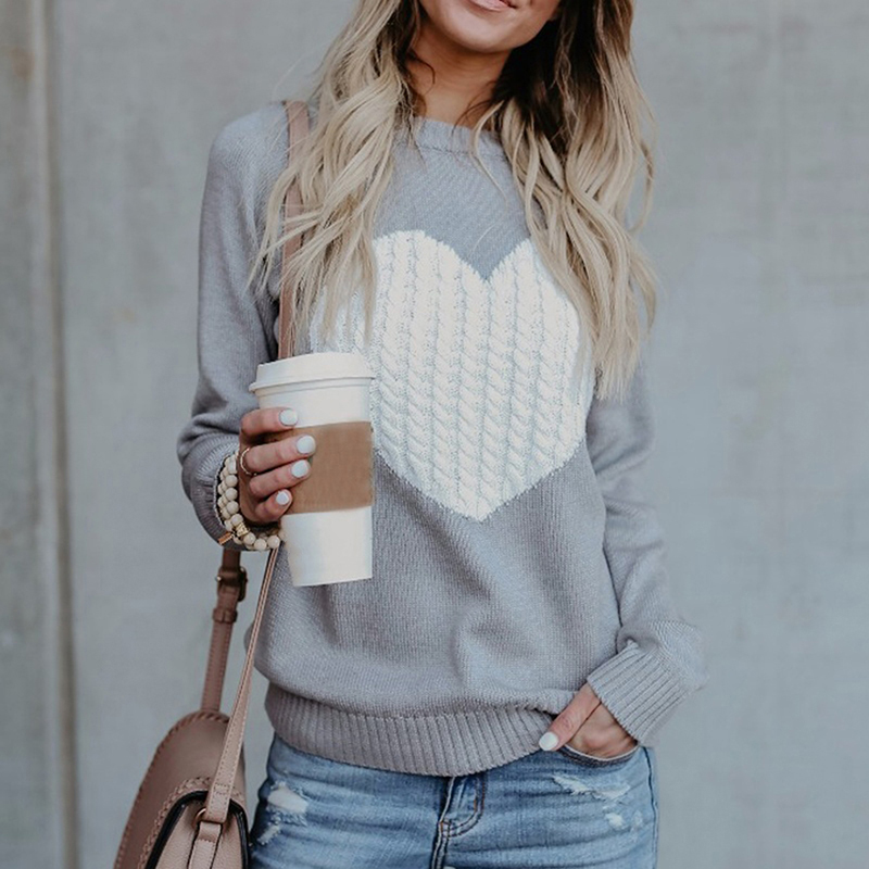 Autumn Winter Women Casual Patchwork Pullovers Women O-neck Knitted Sweaters Heart Cute Long Sleeve Pullover Knitting Sweater