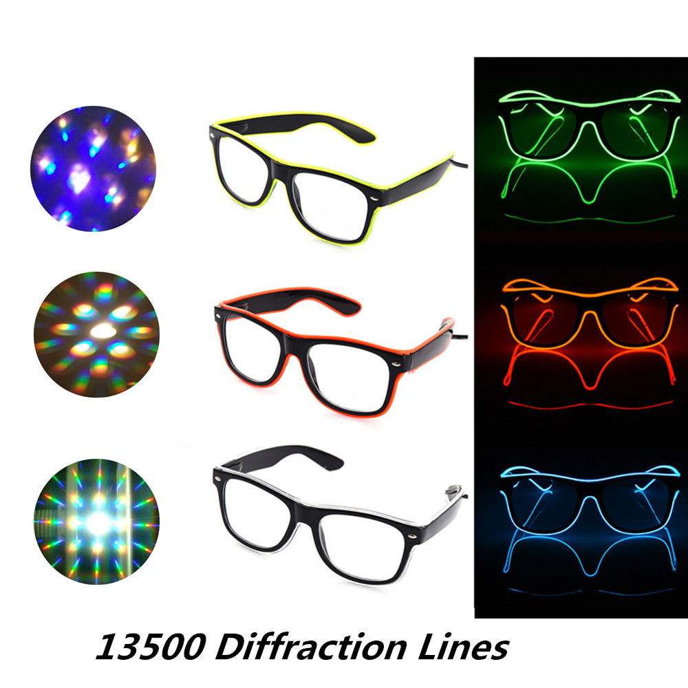 2pcs Fireworks Flaring Bar Party Fluorescent Glow El Wire 3d Glasses,diffraction Flashing El Wire Led Glasses For Raves Party