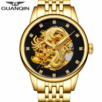 Relogio Masculino GUANQIN Brand Golden Dragon Stainless Steel Skeleton Watches Men Business Luxury Automatic Mechanical Watch
