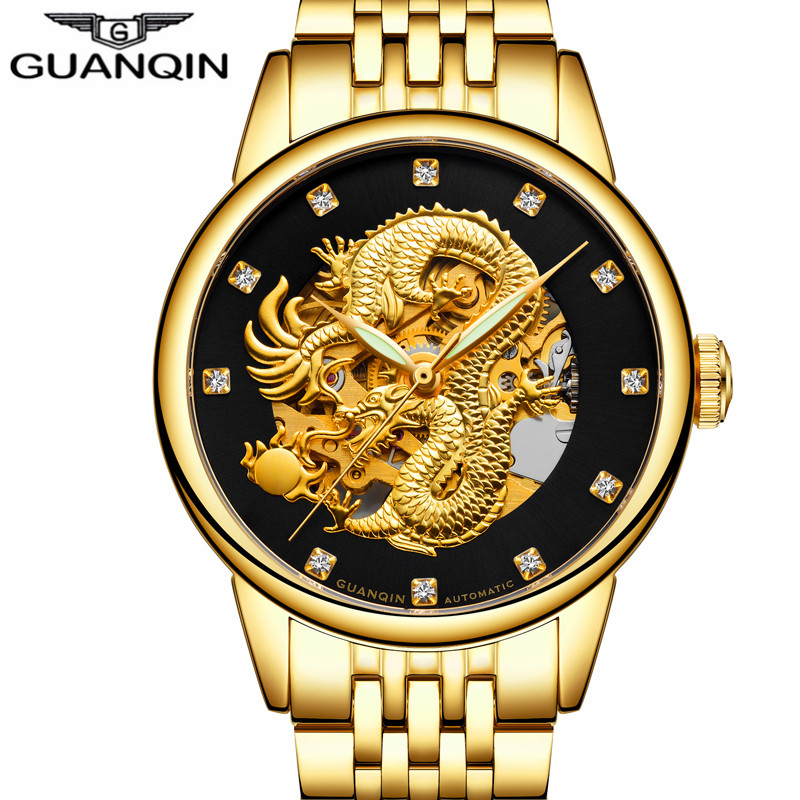 relogio masculino GUANQIN Brand Golden Dragon Stainless Steel Skeleton Watches Men Business Luxury Automatic Mechanical Watch langley new modern dragon watches men automatic mechanical watch male skeleton golden wristwatch luxury brand stainless steel