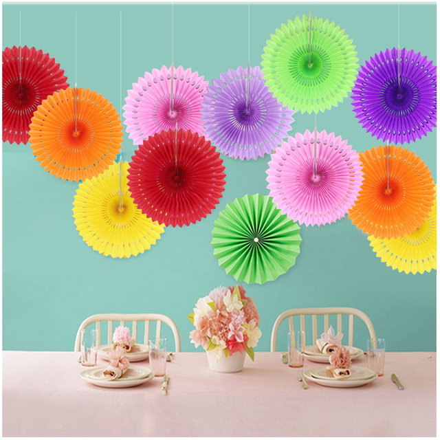 6 Pcs 820cm Multi Color Paper Fan Flower Folding DIY Crafts