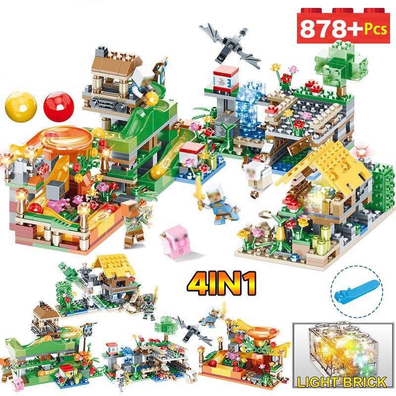 New Hot Blocks Farm Toys Compatible LegoINGLYS Minecrafted 3D Light Castle Village Series DIY Guard Educational Toys For Boys