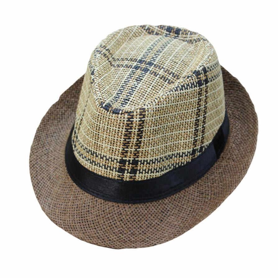 138461c5 ... NewUnisex Trilby Gangster Cap Lattice Pattern Beach Sun Straw Hat Band  Sunhat hats for men cap ...