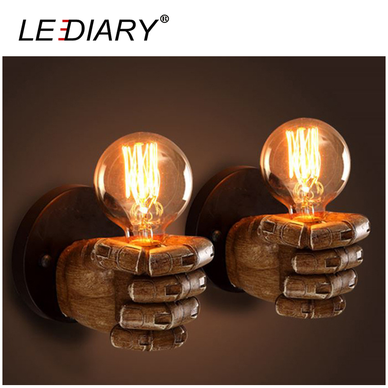 LEDIARY Creative Fist Shape Wall Lamp 110V/220V E27 Socket Resin Material Wooden Appearance Bedside/Stair/Corridor Lamp Antique