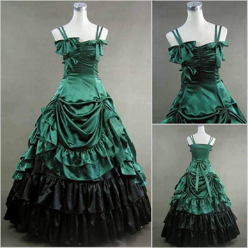 Длинные викторианская Лолита платья 2016 элегантность зеленый атлас готический, викторианской эпохи платье с юбкой по индивидуальному заказу