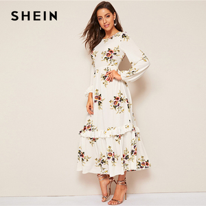 Image 2 - SHEIN Floral Ruffle Hem Fit and Flare Long High Waist Dress Women Spring Autumn Bishop Long Sleeve Boho Elegant Dresses