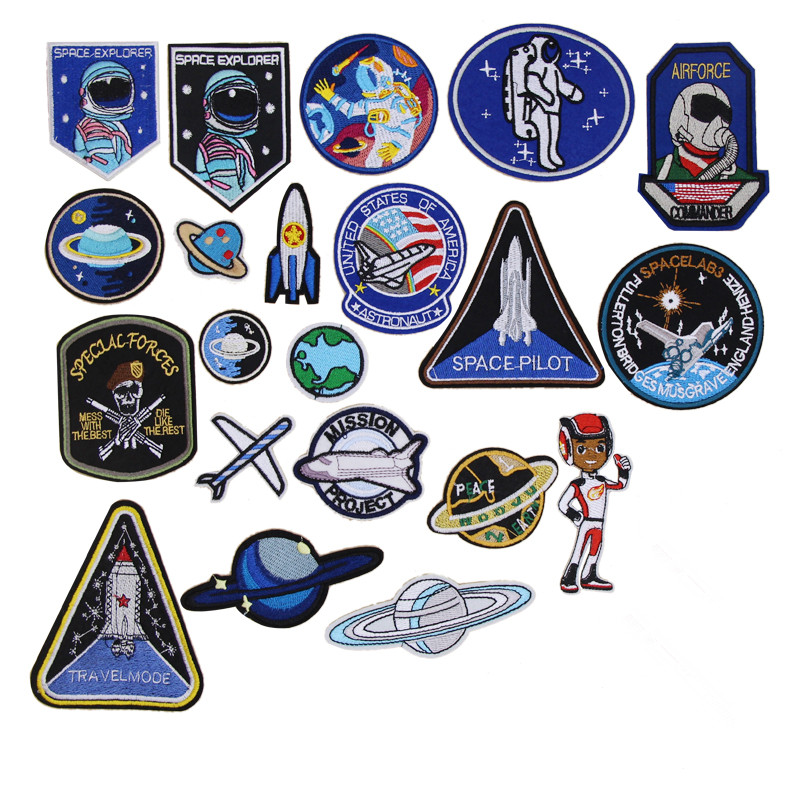 1 pcs Space Pilot Embroidered patches iron on Emblem Clothing Bag Shoe hat repair diy phone decor Motif Applique accessory emblem
