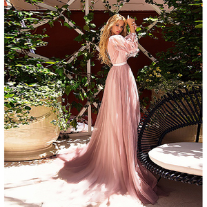 Image 2 - Verngo Beach Wedding Dress 2019 A Line Wedding Dress Ruff Sleeves Elegant Bridal Dress Flowers Tulle Wedding Gowns Casamento