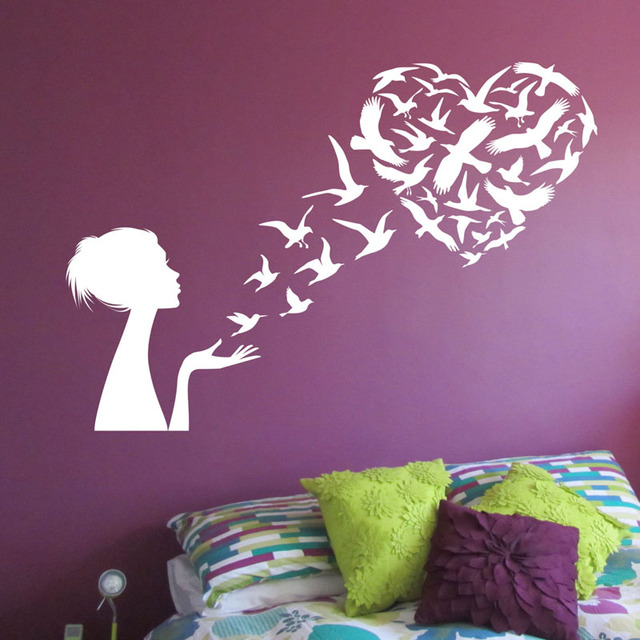 fashion heart graphic art tree mural room sticker bedroom shaped poster wall product decor store decoration living
