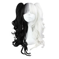 MCOSER 70cm/60cm Long White and Black pigtail Mixed Synthetic Wig 100% High Temperature Fiber Hair WIG 231A