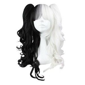 Mcoser 70 cm/60 cm longo branco e preto pigtail misturado peruca sintética 100% fibra de alta temperatura cabelo WIG-231A