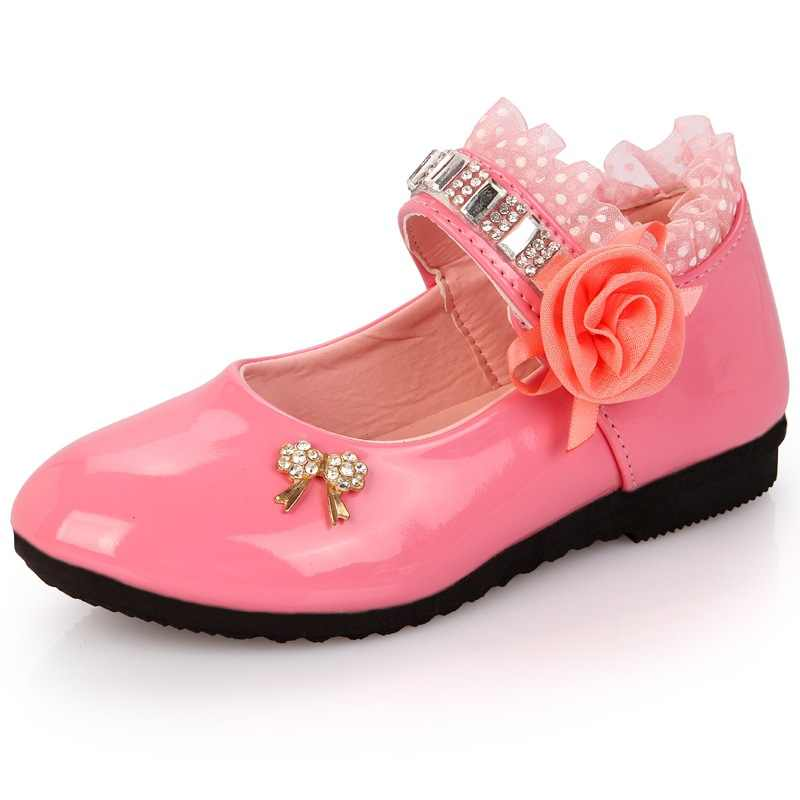 e77d0650ee Hot Spring Rhinestone Big Girls Shoes with Rose Flower Fashion Princess  Slip-on Children Flat Shoes for Girls Shoes Size 6-13