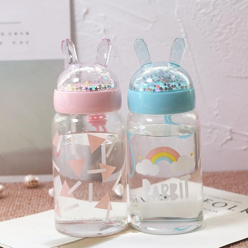 Botella de agua de vidrio de conejo lindo para beber para agua niños Animal vaso portátil a prueba de fugas