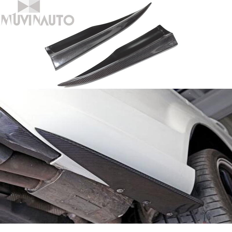 Real Carbon Fiber Rear Bumper Extensions 1pair For Mercedes Benz W204 C63 AMG Side Skirt  Carbon  small wheel eyebrow 2012-2014