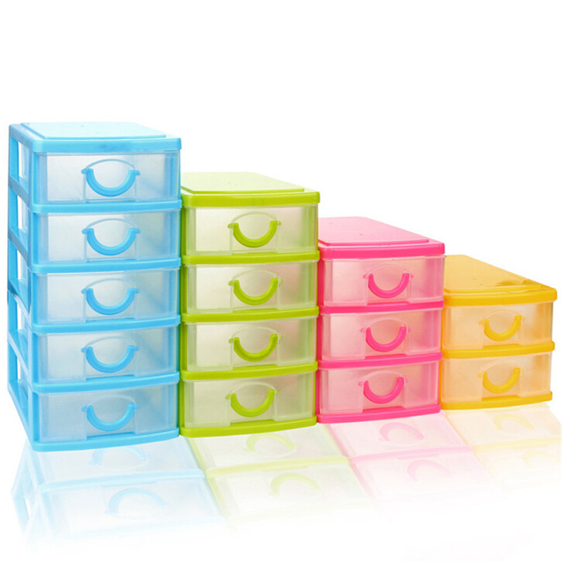 1-5 Layer Mini Desktop Drawer Clear plastic Durable Sundries Case Small Objects storage case box organization Drawer drop ship