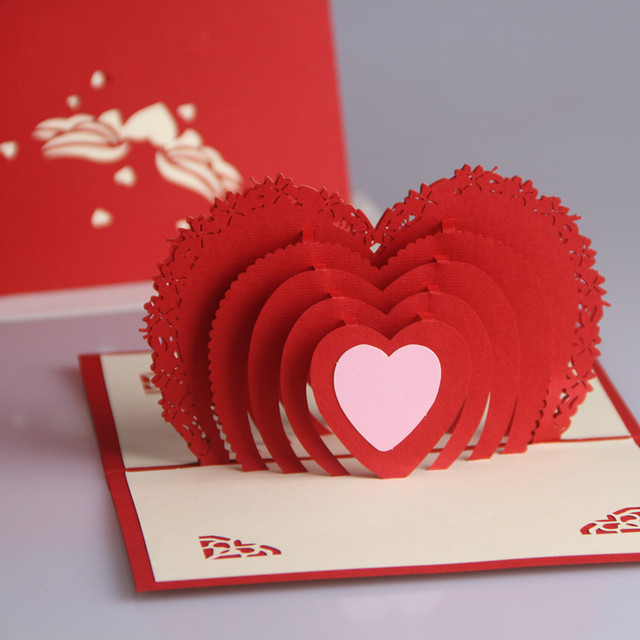 Love Birthday Greeting Cards creative three dimensional carving
