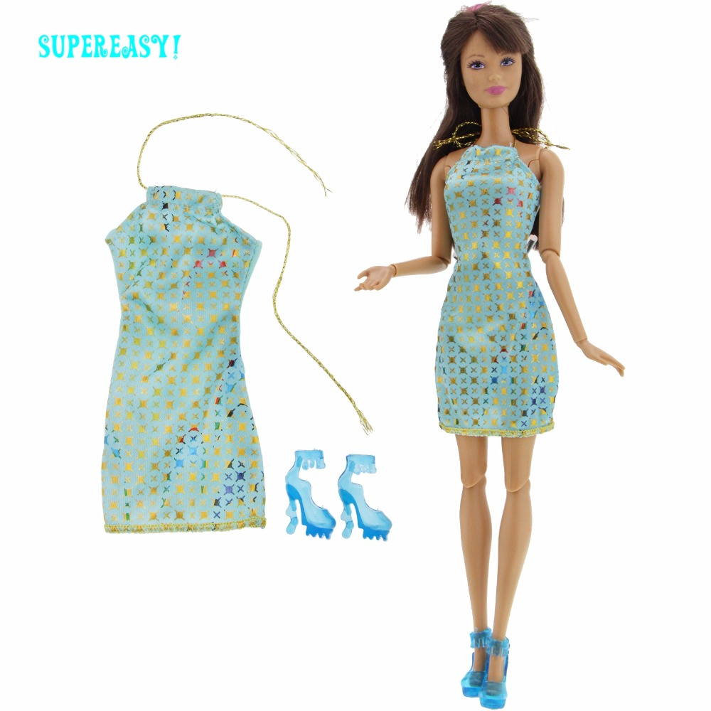 Fashion Mini Dress Star Pattern Sexy Skirt Wedding Party Gown + 1x Blue High Heel Shoes Clothes For Barbie Doll Accessories Toys