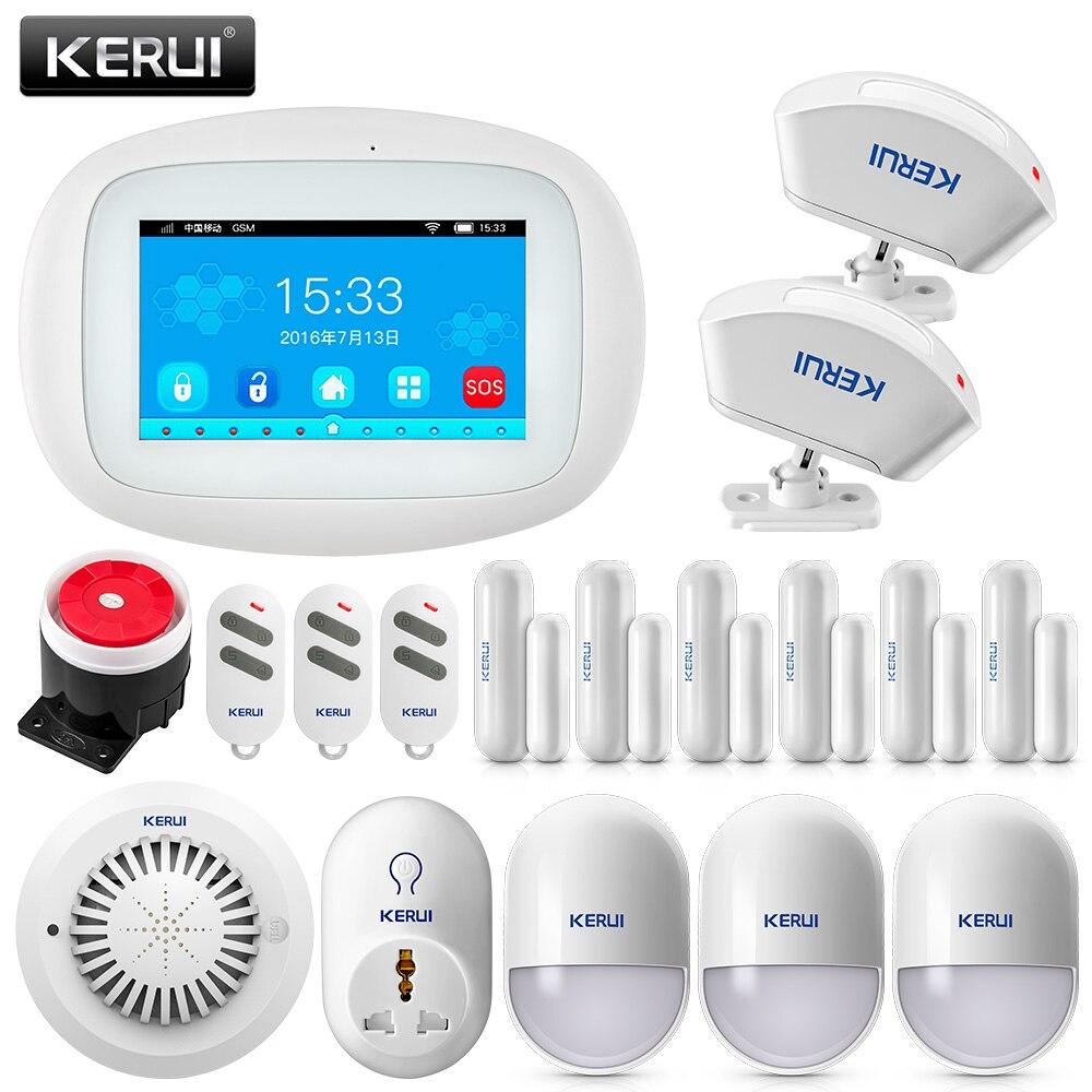 KERUI K5 4.3 pouce TFT Couleur Écran WIFI + GSM Système D'alarme de Sécurité Alarme APP Contrôle PIR Motion Sensor Porte détecteur de Fumée Alarme