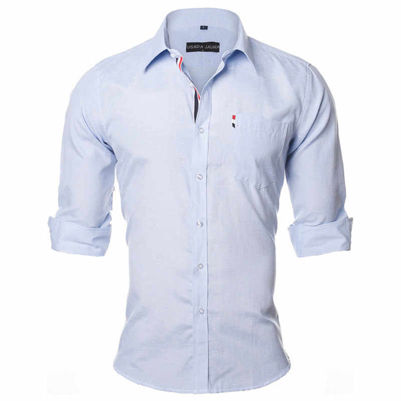 VISADA JAUNA 米国欧州 S-XXL 2018 男性シャツ無地デザインコットンカジュアルビジネス男性ブランド衣料シュミーズオム N936