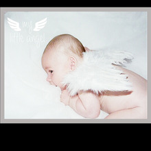Newborn Photography Props White Angel Wings Baby Photos Props Feather Wings Girls Hair Baby New Born Photography Accessories(China)