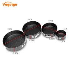 VOGVIGO 4 Black Carbon Steel Cake Molds Non-Stick Metal Bake Mould Round Baking Pan Removable Bottom Bakeware Supplies
