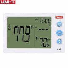 UNI T A10T Digitale Lcd Thermometer Vochtigheidsmeter Klok Hygrometer Van Weerstation Tester Met Wekker Functie