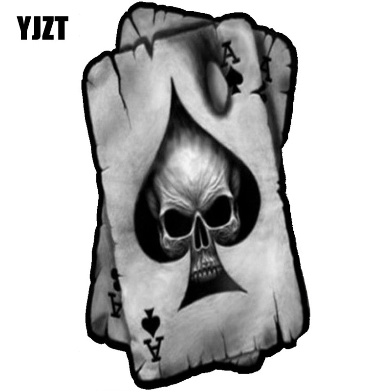 YJZT 7.7CMX13CM SPADES A SKULL Interesting Reflective Car Stickers Decals C1-6041